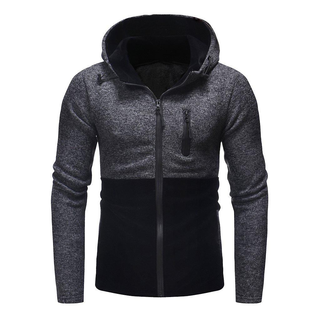 Men's Fashion Stitching Hooded Casual Long-Sleeved Thick Knit Sweater - BLACK XL