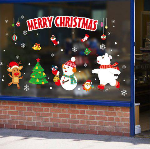 Merry Christmas Animals PVC Window Wall Sticker - multicolor