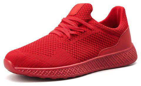Fly Knit Breathable Comfortable Recreational Sports Big Yards Male Shoe - RED EU 45