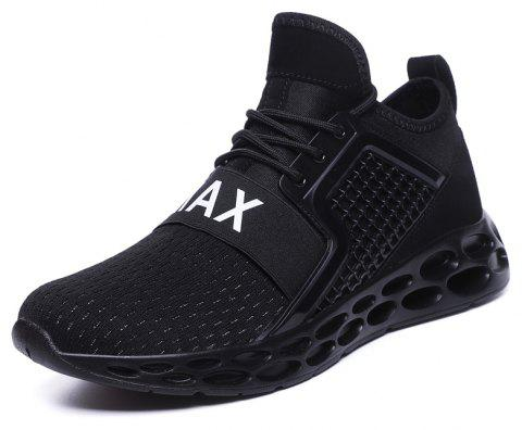 Fall New Fashion Fly Knit Trend Breathable Sports Leisure Men'S Shoes - BLACK EU 42