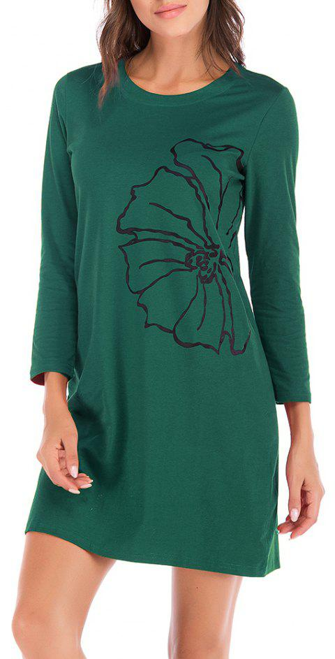 Large Size Women's Printed Round Neck Versatile Long Sleeve Dress - MEDIUM SEA GREEN 2XL