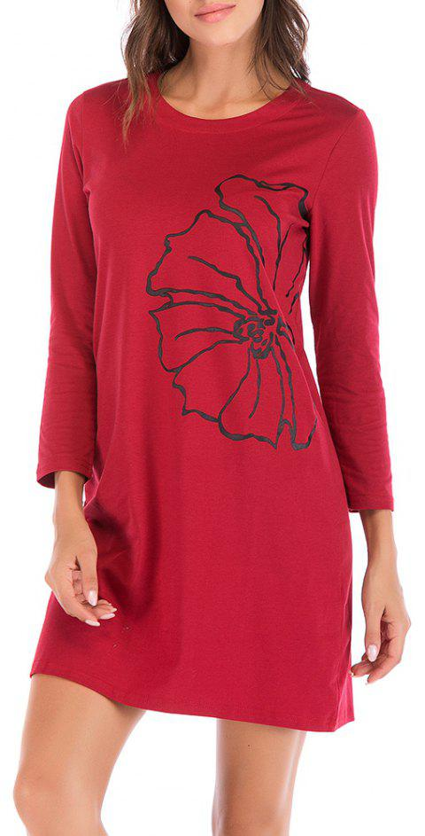 Large Size Women's Printed Round Neck Versatile Long Sleeve Dress - RED WINE XL