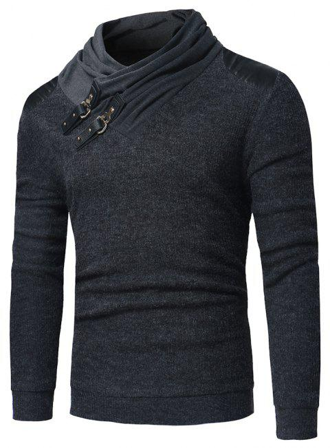 Men's Fashion Leather  Stitching Long Sleeved Sweater - GRAY L