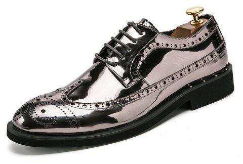 Hommes d'affaires décontracté Shine Gold Leather Shoes - Gris argenté EU 42