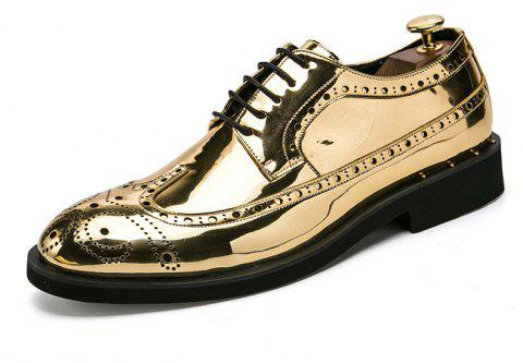 Men Business Casual Wedding Shine Gold Leather Shoes - SUN YELLOW EU 44
