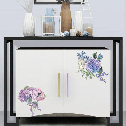 YY2538 Flower PVC Toilet Fridge Wall Sticker - multicolor