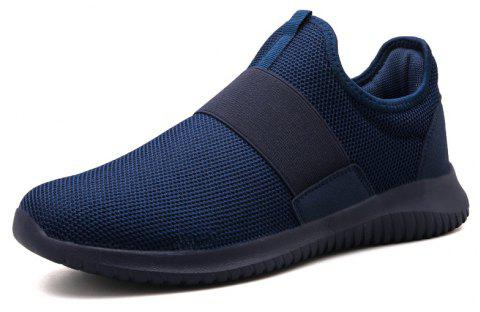 Simple Flyknit Leisure Super Light Big Size Sports Men'S Shoes - DEEP BLUE EU 41