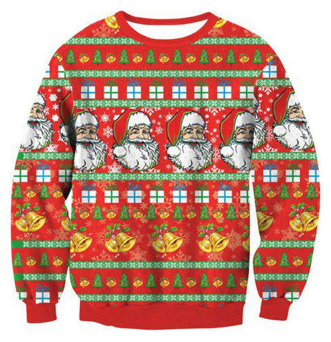 Santa Claus Printing Pullover Fleece - multicolor C XL
