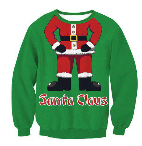 Santa Claus Printing Pullover Fleece - multicolor B XL