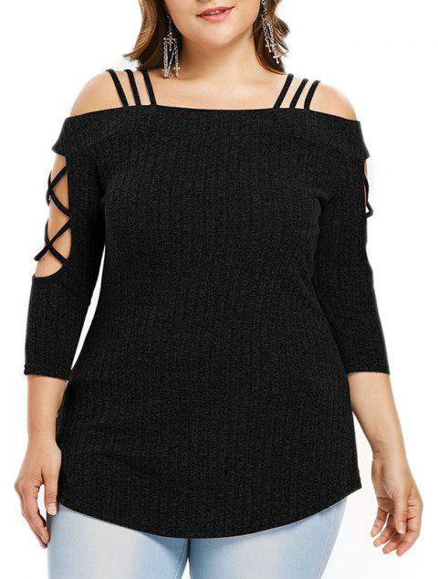 One Word Collar Off Shoulder Knitted Sweater - BLACK XL
