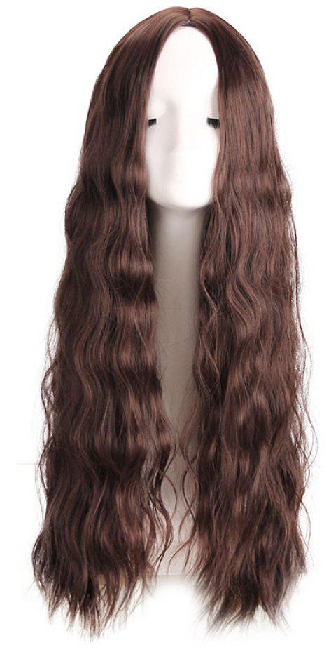 Big Wave Central Parting Hair Style Long Wig - DEEP COFFEE