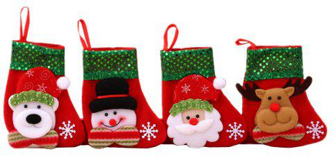 Christmas Stockings Treat Bag Gift for Favors and Decorating 4PCS - RED