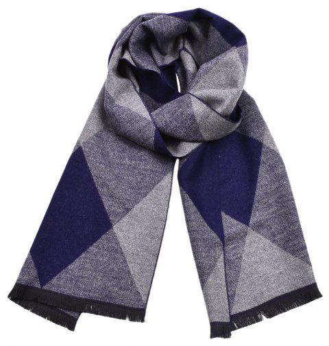 Men Diamond-Shaped Plaid Double-Sided Fringed Warm Scarf - DEEP BLUE