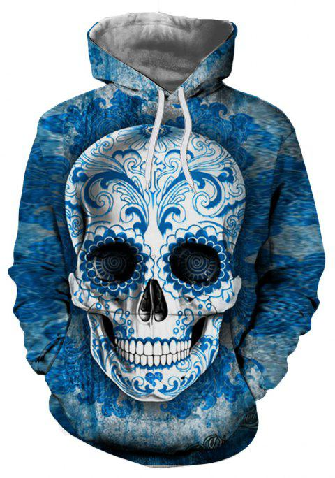 Fashion Classic Men's 3D Personality Skull Print Big Pocket Hoodie Sweater - multicolor D XL