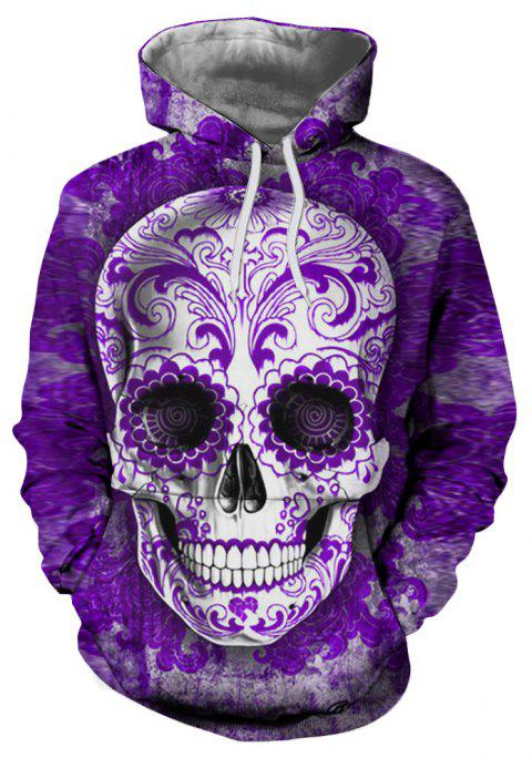 Fashion Classic Men's 3D Personality Skull Print Big Pocket Hoodie Sweater - multicolor B XL