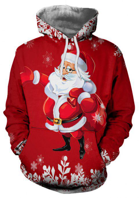 Men's Casual Santa 3D Digital Print Large Pocket Hoodie Sweatshirt - multicolor 2XL
