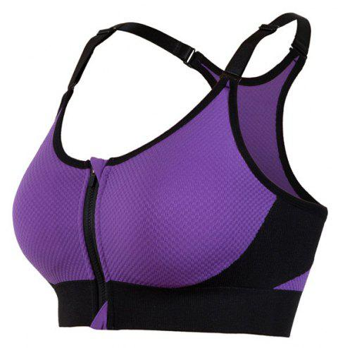 Women's Sports and Fitness Adjustable Yoga Running Shockproof Bra - PURPLE M