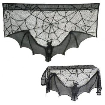 Halloween Decor Haunted House Gothic Black Lace Spider Web  Curtains - BLACK