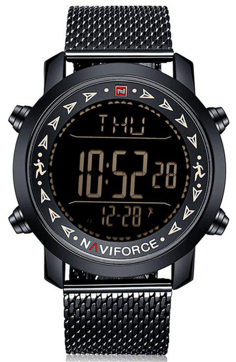 Naviforce Men Digital Stainless Steel Strap LED Pedometer Water Resistant Watch - LIGHT KHAKI