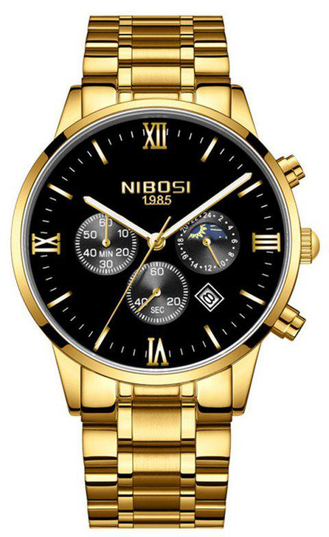 NIBOSI Men's Luxury Famous Top Brand Fashion Casual Chronograph Watches - GOLD