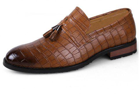 Men Fashion Plus Size Fringe Decoration Slip-On Leather Shoes - BROWN EU 46