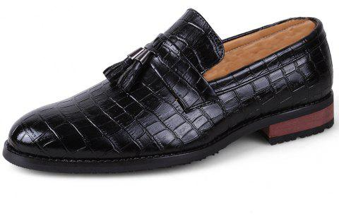 Men Fashion Plus Size Fringe Decoration Slip-On Leather Shoes - BLACK EU 41