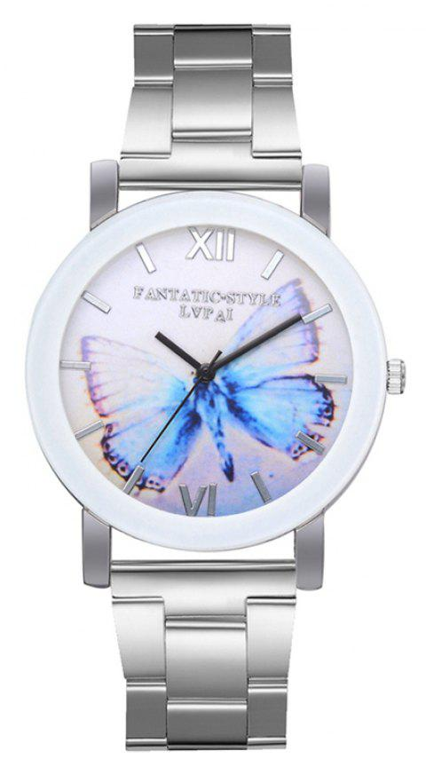 P689 Ladies Blue Large Butterfly Mirror Quartz Watch - SILVER