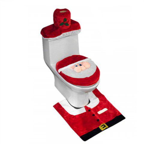 3D Nose Santa Toilet Seat Cover Set  Christmas Decorations Bathroom 3PCS - RED