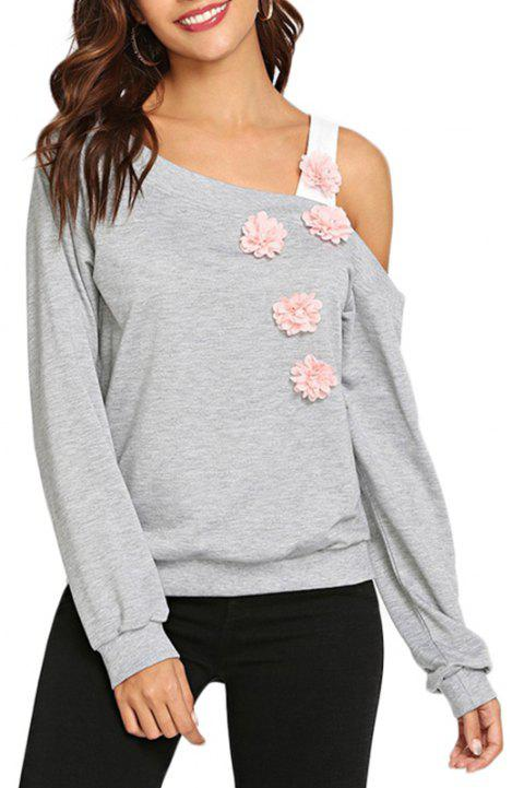 Flower Long Sleeve Off-the-shoulder Sweater - LIGHT GRAY L