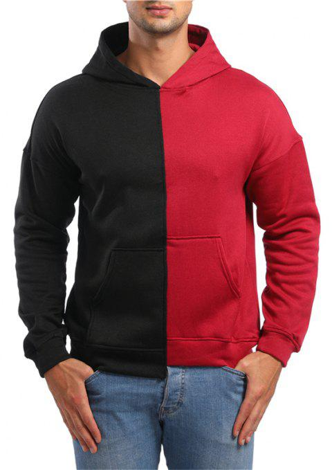 Casual Asymmetrical Men Hooded Sweater - RED L