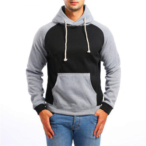 Fashion Sports Color Matching Hooded Sweater - BLACK 2XL