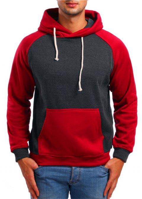 Fashion Sports Color Matching Hooded Sweater - DARK GRAY 2XL