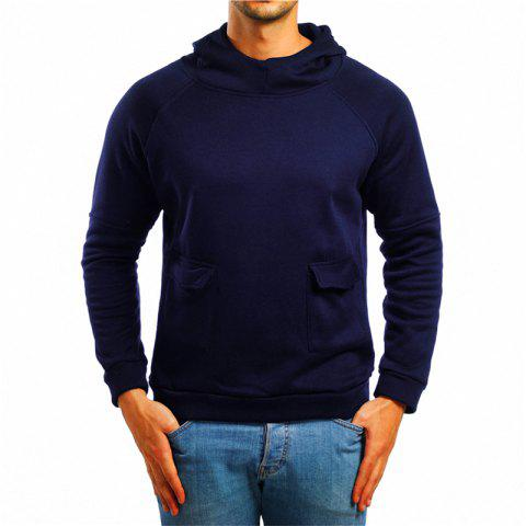 Men's Double Pocket Hooded Pullover Sweater - DEEP BLUE 2XL