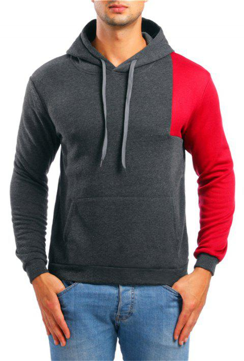 Fashion Simple Color Matching Men Hoodies Sweater - DARK GRAY L