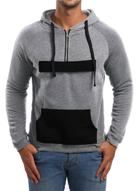 Men's Fashion Simple Sports Hooded Pocket Sweater - LIGHT GRAY M