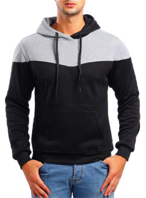 Men's Leisure Sports Color Matching Pullover Sweater - BLACK M
