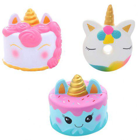 Jouet à combinaison 3PCS Jumbo Squishy Unicorn - multicolor