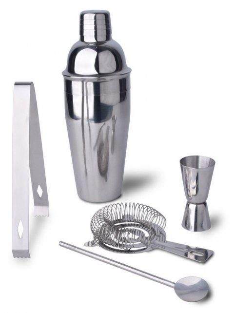 Boston Double Shaker Bar Tools Stainless Steel 5 Pieces Cocktail Shakers Set - SILVER