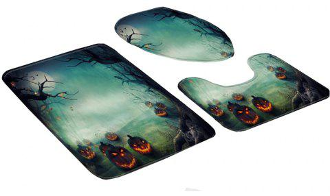 3 Pieces Halloween Toilet Lid Carpet Cover Nonslip Absorb Water - multicolor B 45*75*3CM
