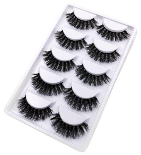 5Pairs Handmade Natural  False Eyelashes Makeup Tools - BLACK 5 PAIRS