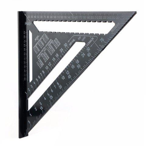12 inch High Precision Aluminum Profile Black Triangle Ruler - BLACK