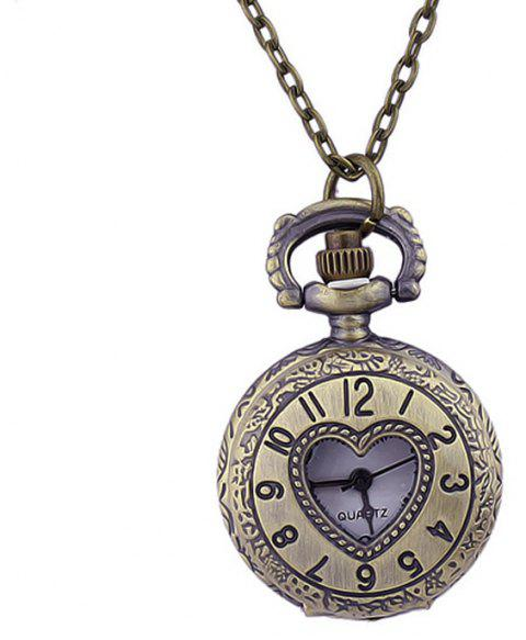 Fashion Jewelry Alloy Heart Pendant Pocket Watch - multicolor