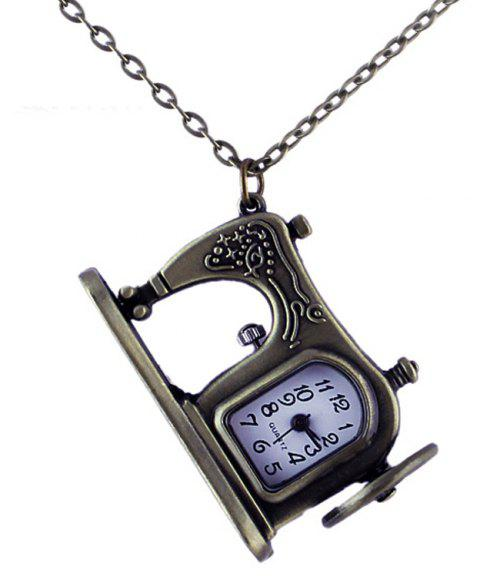 Fashion Alloy Carved Sewing Machines Pendant Pocket Watch - multicolor