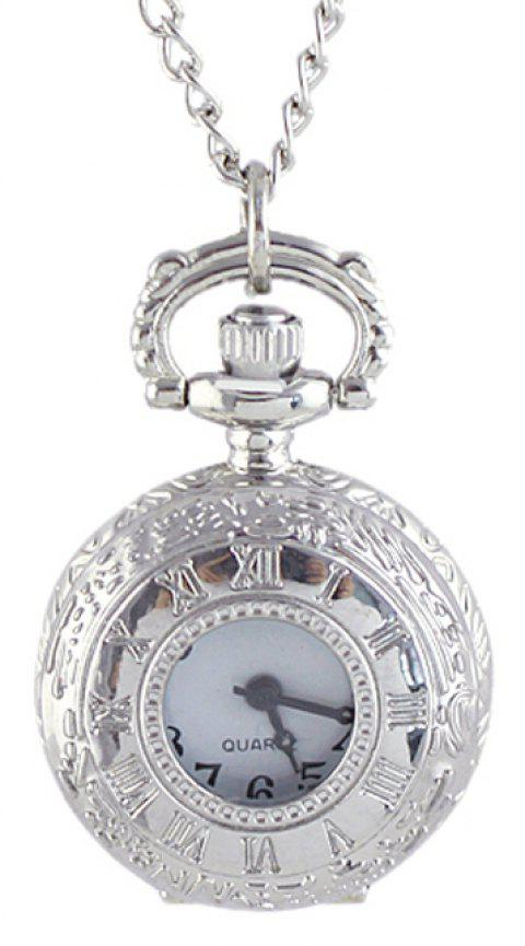 Alloy Number Carved Pendant Pocket Watch with Chain - SILVER