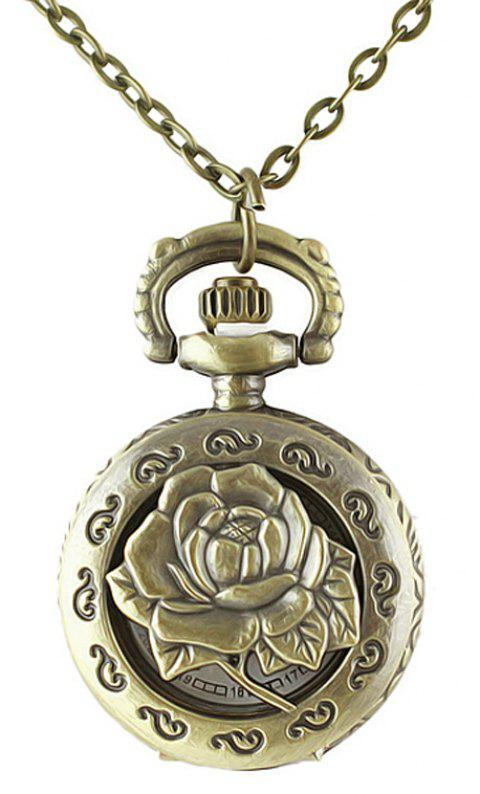 Beautiful Alloy Hollow-out Rose Flower Number Pocket Watch - multicolor