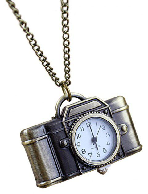 Fashion Alloy Camera Pendant Pocket Watch with Long Chain - multicolor