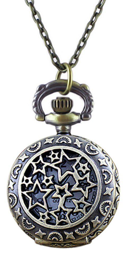 Fashion Flower Star Hollow-out Pocket Watch with Long Chain - multicolor