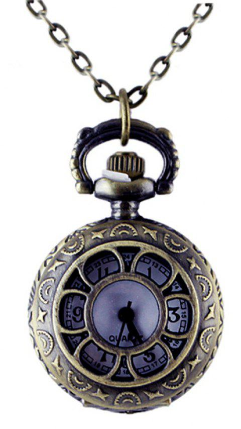 Fashion Hollow-out Sunflower Pocket Watch with Long Chain - multicolor