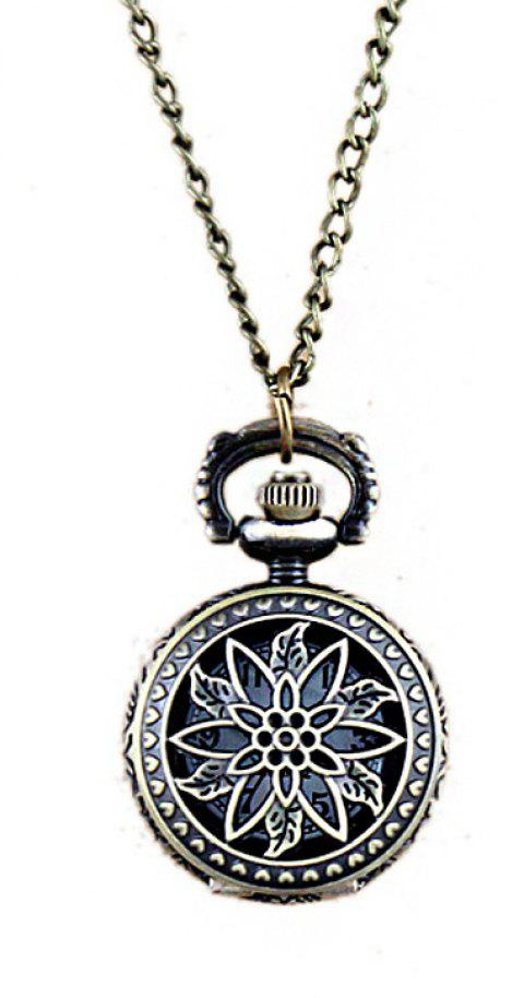 Fashion Hollow-out Leaf Flower Openable Pendant Pocket Watch - multicolor