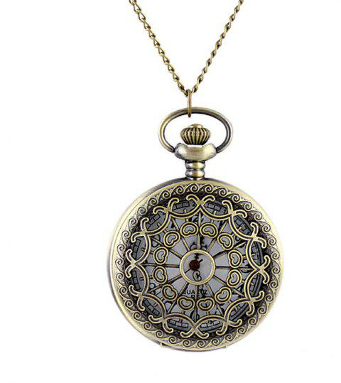 Fashion Hollow-out Charming Pendant Pocket Watch with Metal Long Chain - multicolor